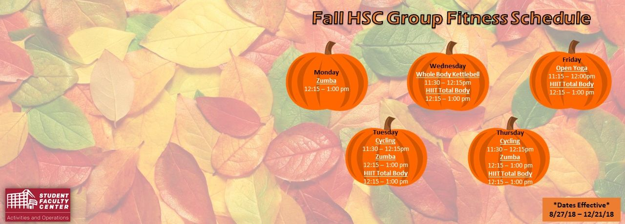 Fall 2018 Group Fitness Schedule